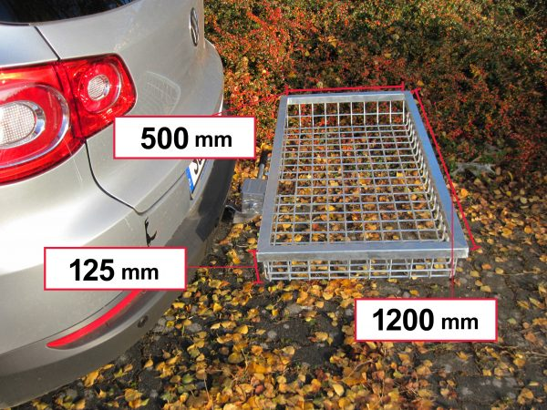 Tow Hitch Cargo Rack - Stainless Steel 1200 x 500 x 125 mm