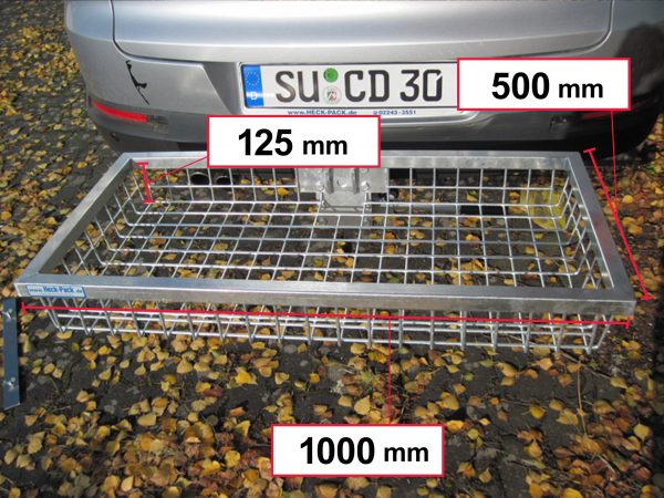 Hitch Mounted Cargo Carrier - Galvanised 1000 x 500 x 125 mm