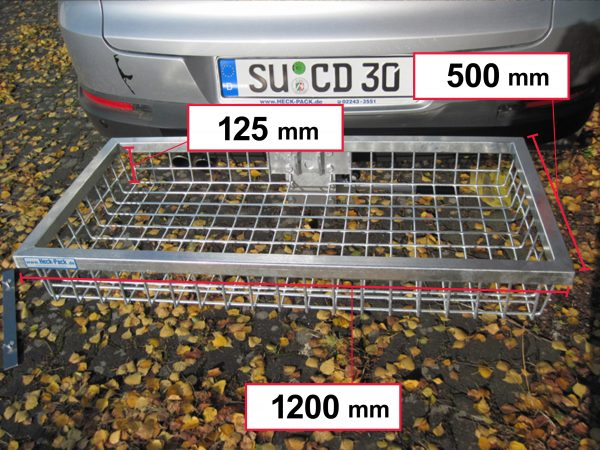 Hitch Mounted Cargo Carrier - Galvanised 1200 x 500 x 125 mm [121350]