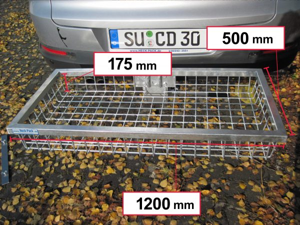 Hitch Mounted Cargo Carrier - Galvanised 1200 x 500 x 175 mm