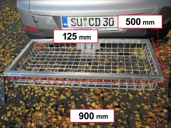 Hitch Mounted Cargo Carrier - Galvanised 900 x 500 x 125 mm