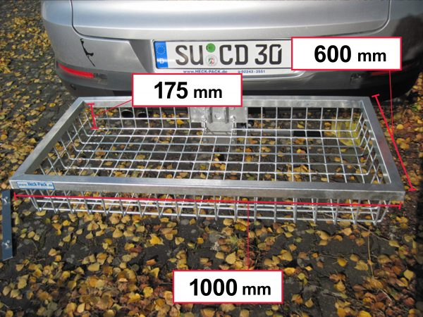 Hitch Mounted Cargo Carrier - Galvanised 1000 x 600 x 175 mm