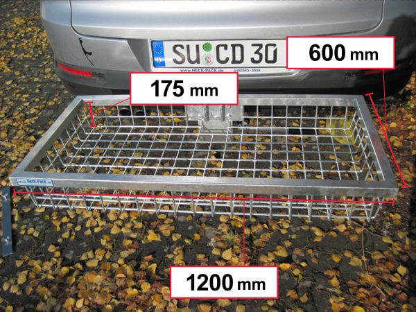 Hitch Mounted Cargo Carrier - Galvanised1200 x 600 x 175 mm